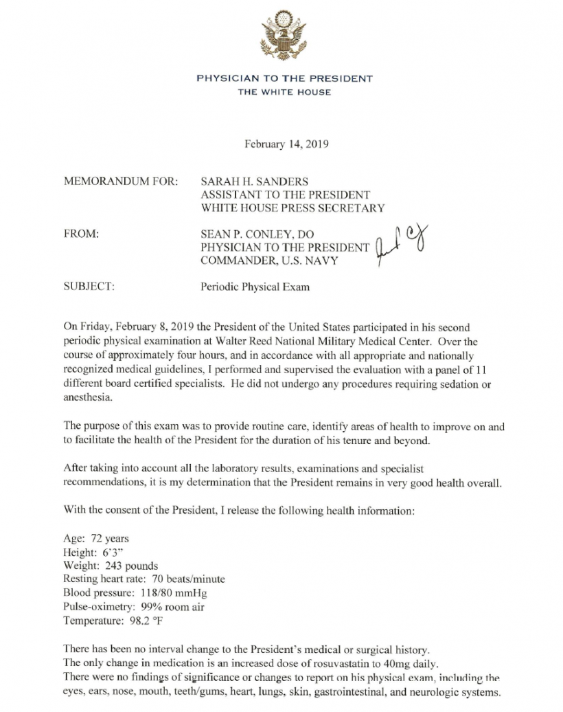 Memorandum from the Physician to the President, White House